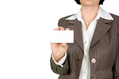 woman business card